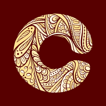 folkloric: Vector zen doodle of folkloric letter C. Illustration