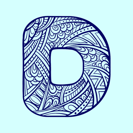 write a letter: Zendoodle pattern style vector graphic. letter D