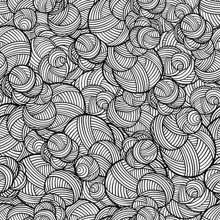 lijntekening: Zwart en witte lijnen, rondes en krommen naadloos patroon Stock Illustratie
