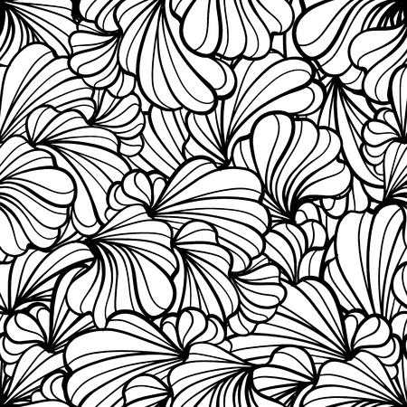 Abstract black and white floral shapes vector seamless pattern.  イラスト・ベクター素材