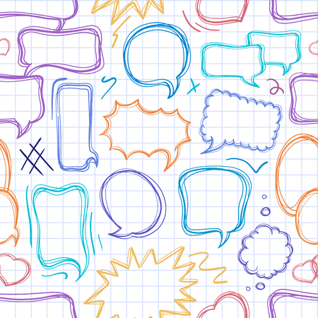 talking: Color doodle speech bubbles seamless pattern on the check background.
