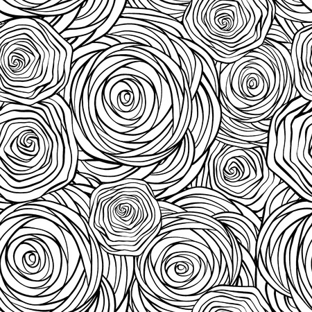 Hand-drawn stylized graphic roses black and white seamless pattern.