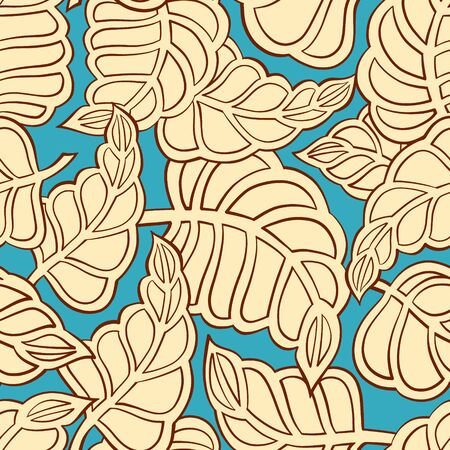 indian summer: Yellow autumn leaves on a blue background. Seamless pattern.
