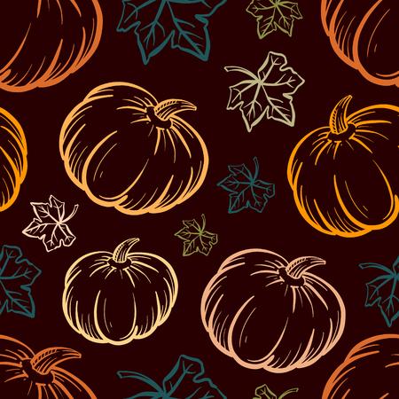 Hand-drown vector pumpkin seamless pattern on a dagk background.