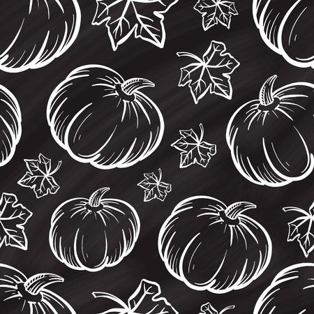 Hand-drown vector pumpkin seamless pattern on a chalk background.