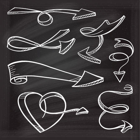 Hand drown vector sketches of twisted arrows on a chalk background Illustration
