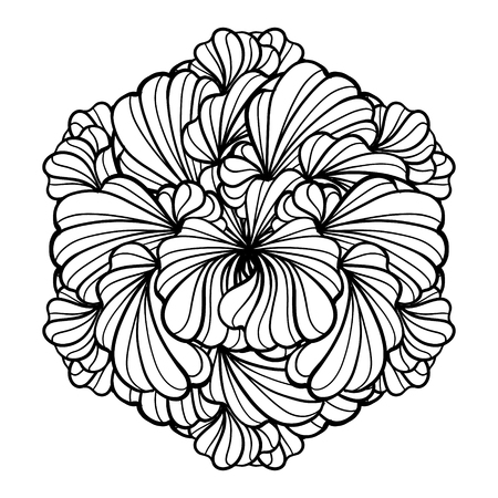 Vector black and white floral round design element.