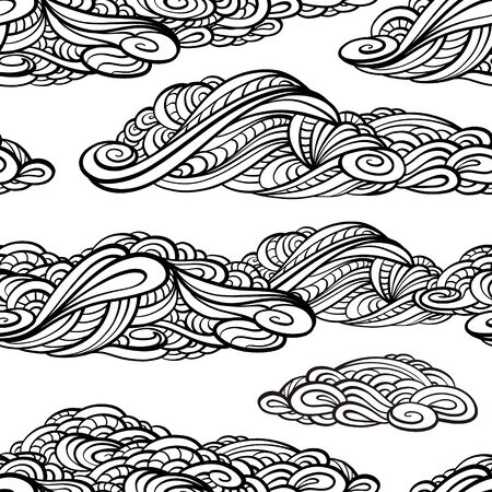 white clouds: Black and white zendoodle clouds. Vector seamless pattern.