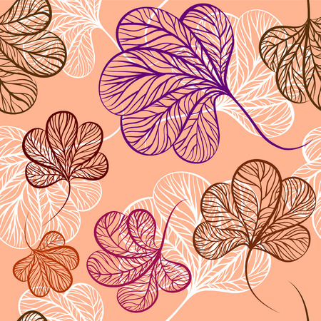 hand drown: Vector floral seamless pattern. Hand drown autumn leaves.