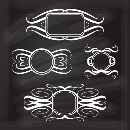 black picture frame: Calligraphy frames on the chalk background for your design.