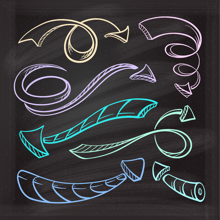 drown: Hand drown color sketches of twisted arrows on a chalk background Illustration