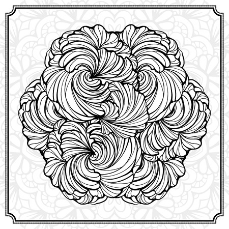 color page: abstract black and white round design element.