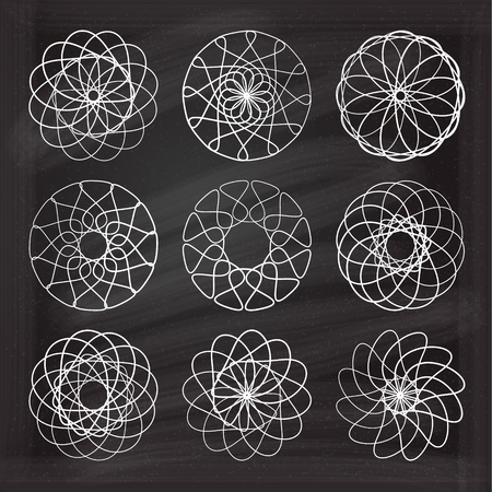 circle design: Set of vector round design elements on the chalkboard