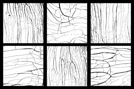 Bois noir et blanc textures disstressed vector set Vecteurs