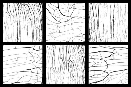 Black and white wood disstressed textures vector set Illustration
