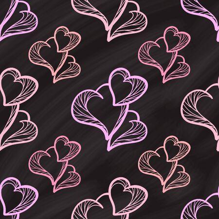 Vector nahtlose Herzen Muster auf einer Tafel Hintergrund