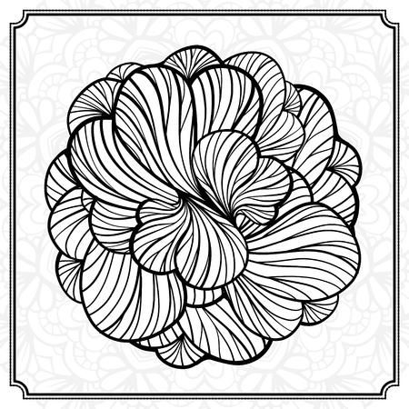 Vector Schwarz-weißen Blumen Runden Design-Element. Lizenzfrei ...
