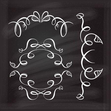 foliate: Set of elegant floral elements design on the chalkboard.