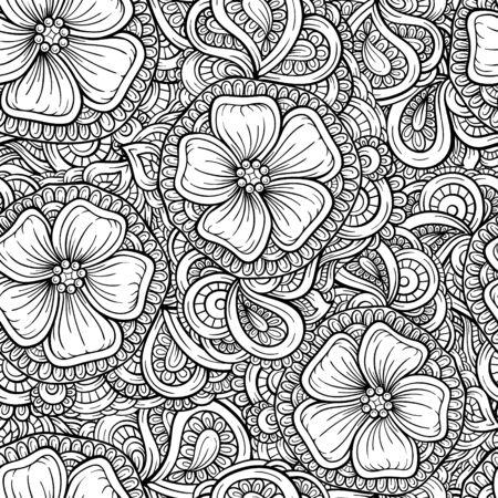 Vecteur noir et blanc éléments floraux seamless pattern. Vecteurs