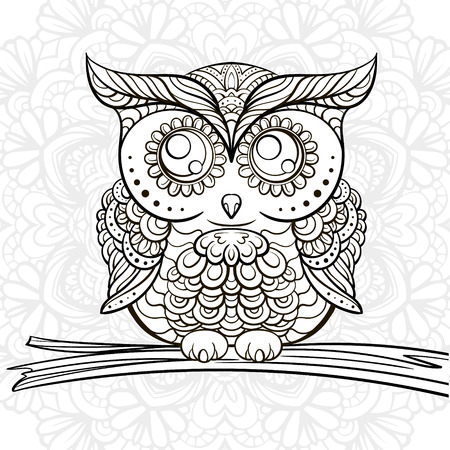 Hand drawn black anm white owl doodle for coloring