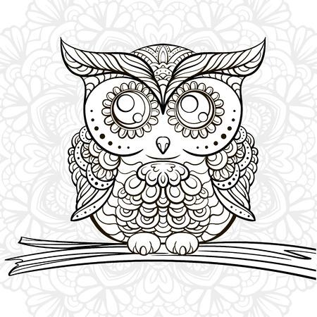 Ręcznie rysowane czarno-biała sowa doodle ANM do barwienia