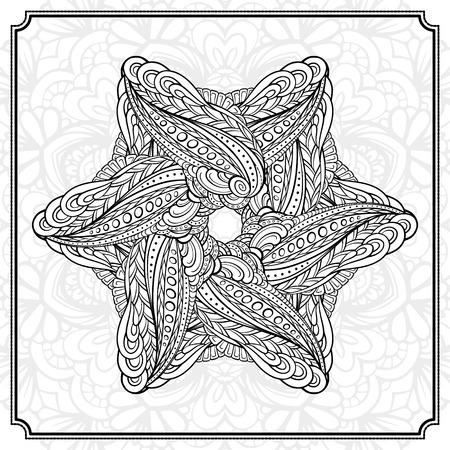 snoflake: Vector abstract black and white mandala pattern. Illustration