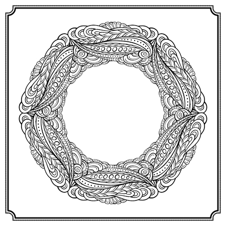 eps 8: Vector absrtact floral elements black and white frame. EPS 8