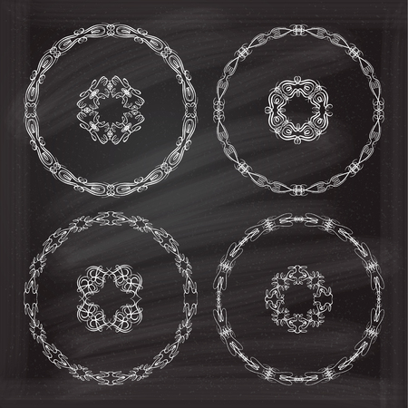 curlicue: Calligraphy frames on the chalk background for your design.