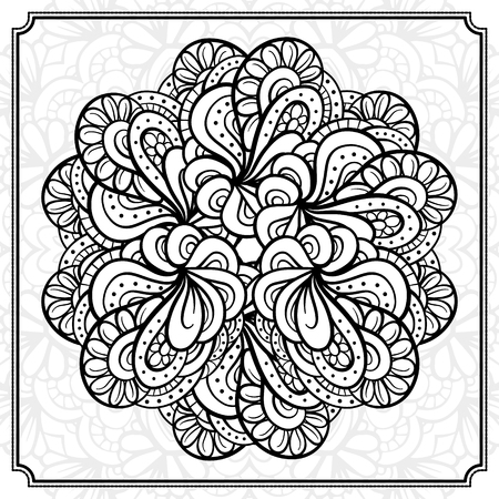 page background: abstract black and white round pattern. Illustration