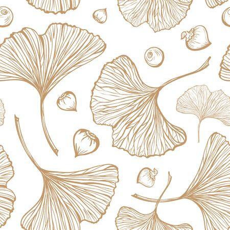 luxery: Gold ginkgo leaves on a white background. Vecror seamless pattern.
