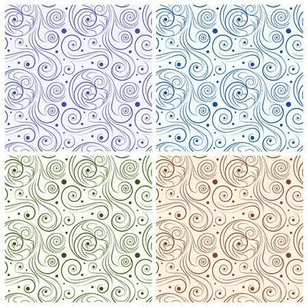 twirls: 4 seamless twirls pattern set in various colors