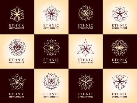 Vector round design elements set. Stylized flowers and mandala shapes. Vettoriali