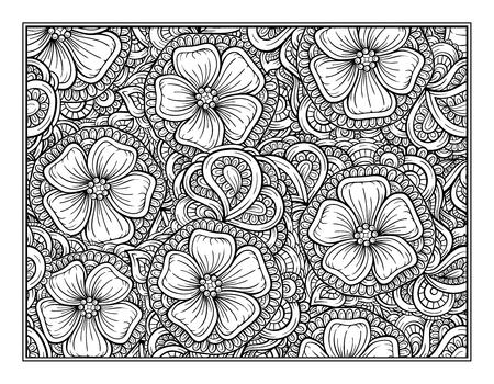 Coloriage décoration florale d'ornement pour l'art-thérapie
