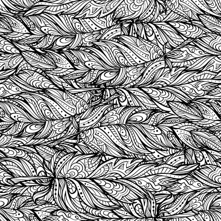 feathering: Vector black and white zendoodle feathers seamless pattern. Boho style. Illustration