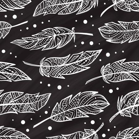 feathering: zendoodle feathers seamless pattern on a chalkbord background. Boho style. Illustration