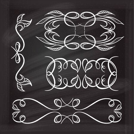 old fashioned menu: Set of elegant white flourishes for your design on the chalkboard.