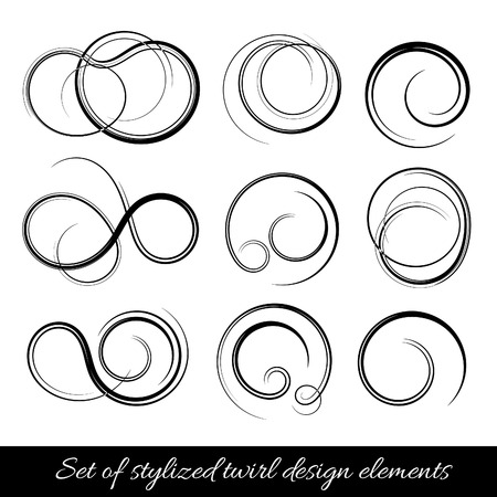 twirls: abstract spirals and twirls shapes. Design elements set.