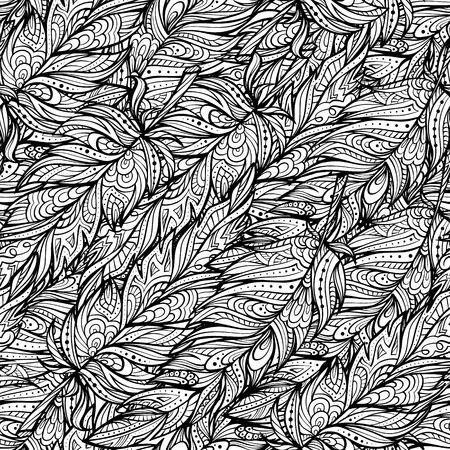 feathering: black and white zendoodle feathers seamless pattern. Boho style. Illustration