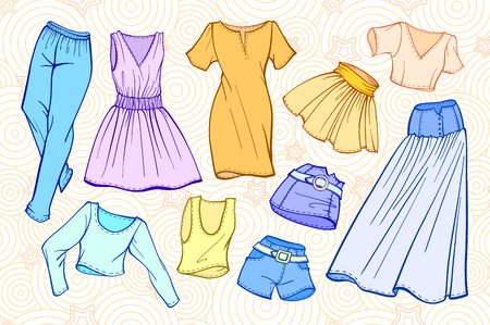 up skirt: fashion set of womans clothes: dresses, skirts, jeans, shorts, t-shirts.