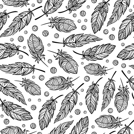 feathering: black and white feathers seamless pattern Illustration