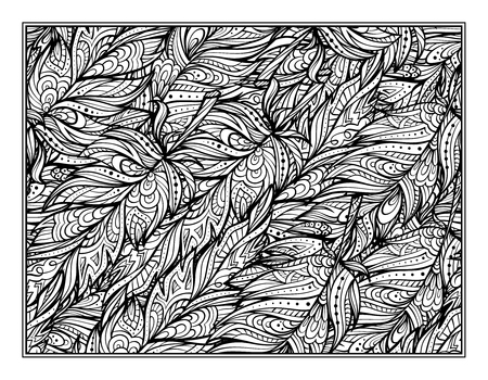 art therapy: zendoodle feathers pattern coloring page for art therapy