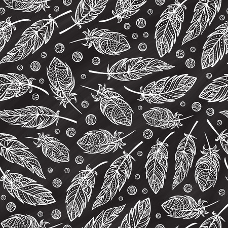 feathering: zendoodle feathers seamless pattern on a chalkboard background. Illustration