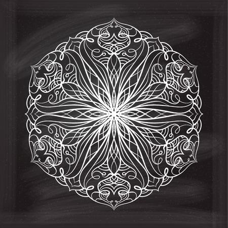 white chalk: Vector abstract mandala pattern on a chalkboard background. Illustration