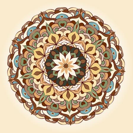 民族のマンダラ パターンをベクトルします。レトロなオリエンタル スタイル。
