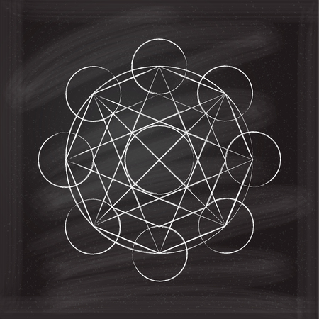 pentacle: abstract magic geometric symbol on a chalkboard background