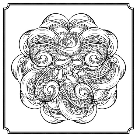 tentacles: Black and white octopus tentacles round pattern