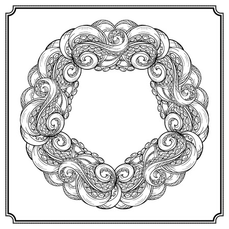 tentacles: Black and white octopus tentacles frame Illustration