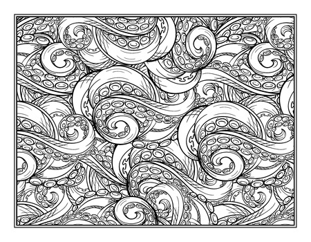 tentacles: Octopus tentacles ornamental coloring page for art therapy Illustration