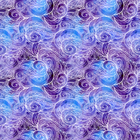 sea monster: Sea monster tentacles pattern on watercolor background