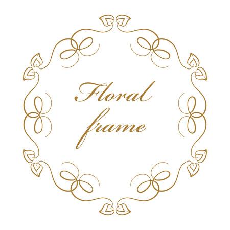 vignette: Vector floral vintage frame on a white background. Illustration